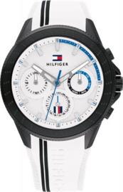 Tommy Hilfiger Zwart Heren Horloge met Witte Siliconen Horlogeband