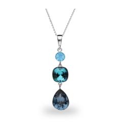 Spark Classico Ketting met Blauw Glaskristal