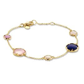 Excellent Jewelry Geelgouden Armband met Edelstenen in Bloemvorm