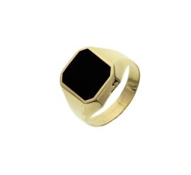 Gouden Zegelring voor Heren met Zwart Onyx Vlak - Graveer optie