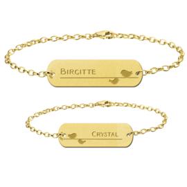 Gouden Moeder Dochter Armbandjes Set met Vogeltjes > Names4ever