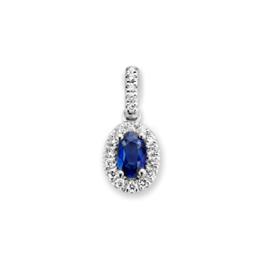 Excellent Jewelry Witgouden Hanger met Saffier en Briljanten