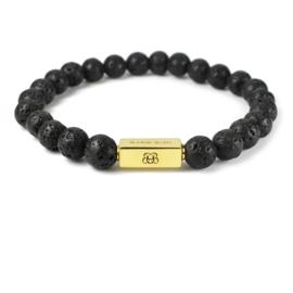 Gold Premium   Lava Kralen Armband van Blaauw Bloed