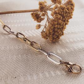 Excellent Jewelry Slanke Bicolor Schakelarmband met Opengewerkte Schakels