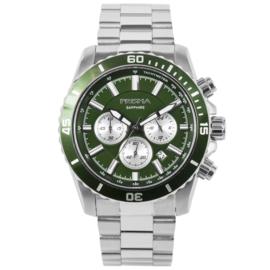 Edelstalen Chronograaf Horloge met Groene Voorkant van Prisma
