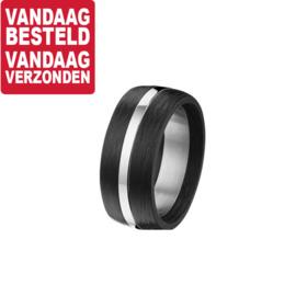 Carbon Ring met Glanzende Edelstalen Middenstrook / maat 20,2