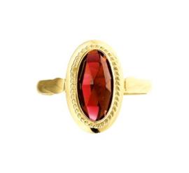 Vintage Ring met Ovaalvormige Granaat Steen