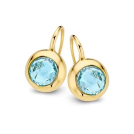 Excellent Jewelry Geelgouden Oorhangers met Blauwe Topaas