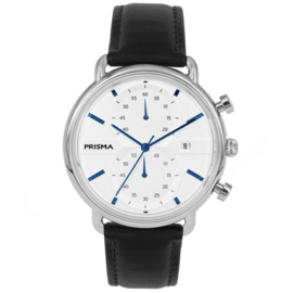 Modern Heren Horloge van Edelstaal met Lederen Horlogeband en Blauwe Wijzers