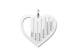 Zilveren Hartvormige Familiehanger met Namen | Names4ever