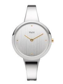 Zilverkleurig Dames Horloge met Zilverkleurige Edelstalen Horlogeband van M&M