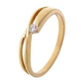 Excellent Jewelry Geelgouden Dames Ring met Losse Stroken en Zirkonia
