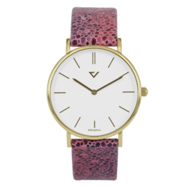 Prisma Goudkleurig Dames Horloge met Stijlvolle Roze Band