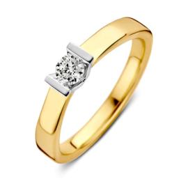 Excellent Jewelry Vlakke Gouden Ring met Kleurloze 0,20 crt. Briljant
