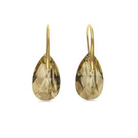 Golden Drop Oorhangers met Champagne Kristal