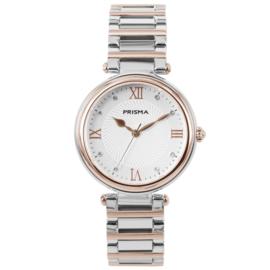 Zilver- met Roségoudkleurig Dames Horloge van Edelstaal met Romaanse Cijfers