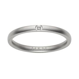 Slanke Gematteerde Zilverkleurige Ring met Zirkonia van M&M