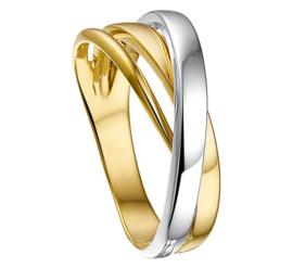 Gouden Dames Ring met Diagonale Witgouden Strook