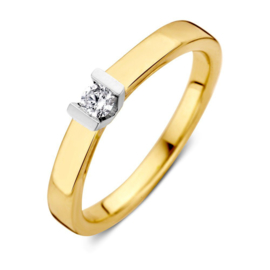 Excellent Jewelry Vlakke Gouden Ring met Kleurloze 0,10 crt. Briljant
