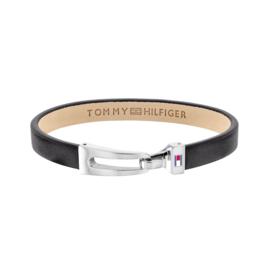 Tommy Hilfiger Zwart Lederen Armband met Edelstalen Sluiting TJ2790052