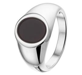 Zwarte Onyx Steen Zegelring van Zilver / Maat 16,5