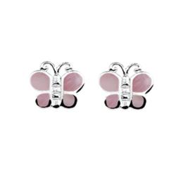 Roze Parelmoer Vlinder Oorknoppen van Zilver | SALE