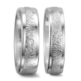 Bewerkte Zilveren Trouwringen Set met Gepolijste Randen en Diamant