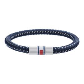 Gevlochten Blauwe Armband met Edelstalen Sluiting van Tommy Hilfiger