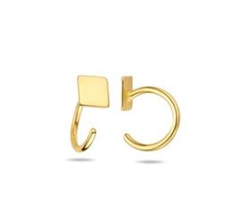 Gouden Huggie Oorringen Vierkant