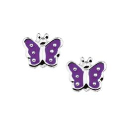 Zilveren Vlinder Oorknoppen met Paarse Emaille