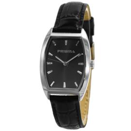 Prisma Zilverkleurig Langwerpig Dames Horloge met Zwart Lederen Horlogeband