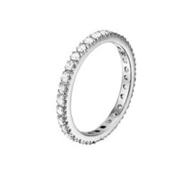 Gepolijste Zirkonia Ring van Gerhodineerd Zilver