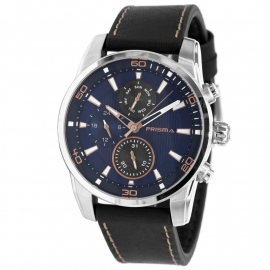 Prisma Horloge 1592 Heren Edelstaal Multi-Functie Blauw