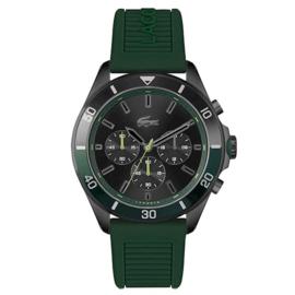 Lacoste Sportief Stalen Tiebreaker Horloge met Groene Siliconen Horlogeband