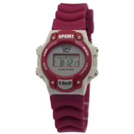 Q&Q Modern Digitaal Kids Horloge Paars met Grijs