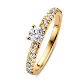 Excellent Jewelry Gouden Diamanten Ring met Diamant Kopstuk