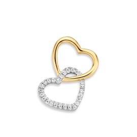 Excellent Jewelry Dubbel Hartvormige Hanger van Witgoud met Geelgoud