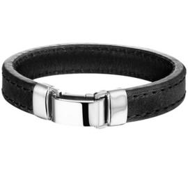 Zwart Lederen Armband met Edelstalen Sluiting