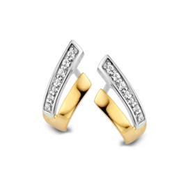 Excellent Jewelry V-vormige Bicolor Oorstekers met Zirkonia's