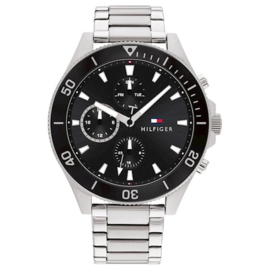 Tommy Hilfiger Zilverkleurig Heren Horloge met Zwarte Bezel