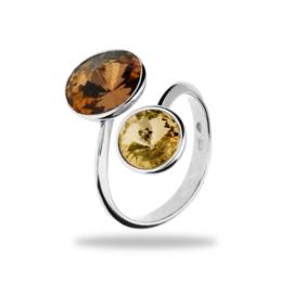 Piruli Zilveren Ring met Gele en Bruine Swarovski kristallen