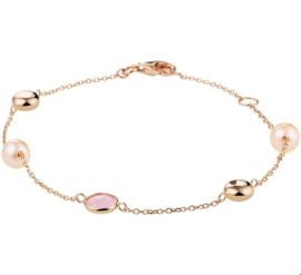 Roségouden Anker Armband met Roze Jade en Roze Zoetwaterparels