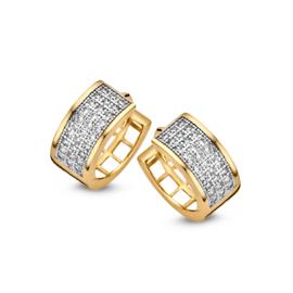 Excellent Jewelry Brede Creolen van Geelgoud met Zirkonia's