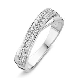 Excellent Jewelry Witgouden Ring met Dubbele Zirkonia Rij