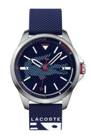 Lacoste CapBreton Heren Horloge met Donkerblauwe Silicone Band