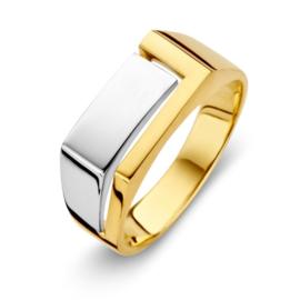Excellent Jewelry Rechte Geelgouden Ring met Witgouden Vlak