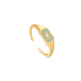 Ania Haie Bright Future Goudkleurige Emblem Ring met Groene Emaille