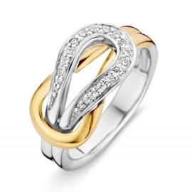 Excellent Jewelry Bicolor Dames Ring met Zirkonia Lus