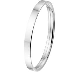 Stevige Vlakke Buis Dames Bangle armband van Zilver