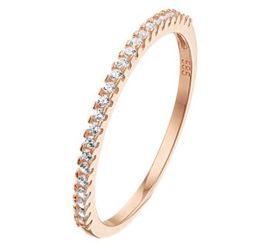 Roségouden Ring met Kleurloze Zirkonia Rij